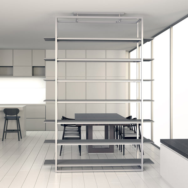 Highly bookcase by 1x1 Modern Custom Furniture in a modern dining room, custom-made and made-to-measure