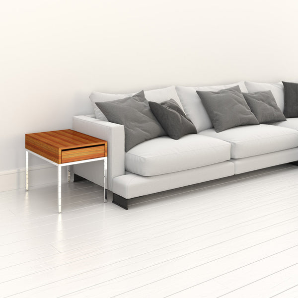 Initially side table by 1x1 Modern Custom Furniture next to a modern sofa, custom-made and made-to-measure