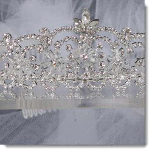 017 Crystal Stone Crown with Veil