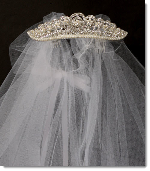 026  Jewel and Pearl Crown Veil