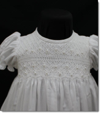 06757 Will'beth Smocked Gown with Pintucks and Seed Pearls - Little Angels Couture - 3