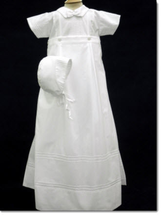07016 Will'Beth Boys White Christening Romper /Skirt - Little Angels Couture - 1