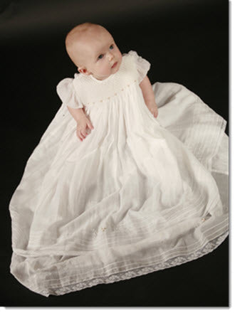 09080 - Smocked and Beaded Christening Gown