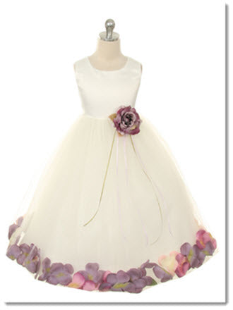 160 B Satin Flower Petal Dress