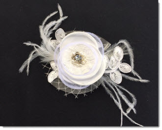 Flower with pearls diamante and lace