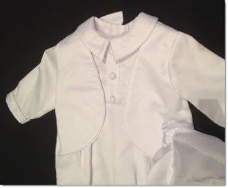 205 White Satin Romper with Integrated Jacket +Cap - Little Angels Couture - 3