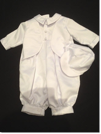 205 White Satin Romper with Integrated Jacket +Cap - Little Angels Couture - 1