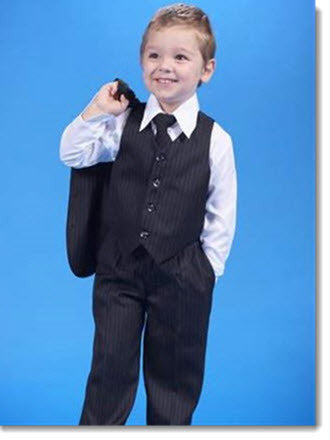 234 Boys 5 Piece Pinstripe Suit - Little Angels Couture - 1