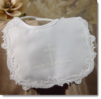 Matte Satin Girls Bib with Screened Cross - Little Angels Couture