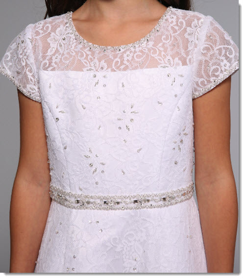 3025 A Line Lace Communion Dress