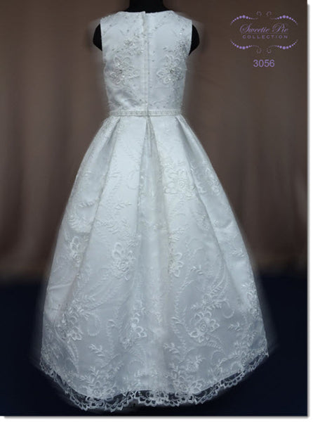 3056 Satin and Embroidered Organza First Communion Dress