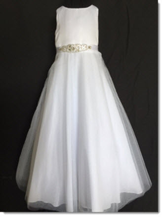 3411 White with Diamante Cluster belt