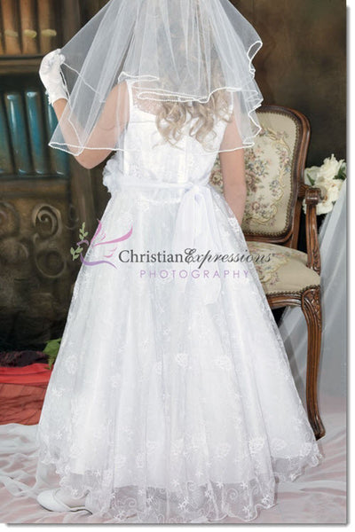 3681 - First Communion Dress Satin with Flowing Lace