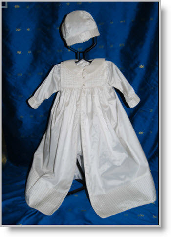 421415: Boys' Silk Christening Romper & Cape - Little Angels Couture - 1