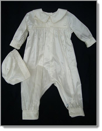 421415: Boys' Silk Christening Romper & Cape - Little Angels Couture - 2
