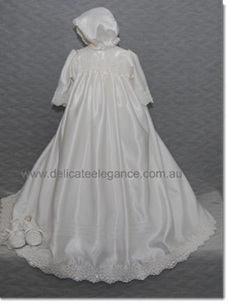 4230B  White Silk Christening Gown with White beaded lace trim