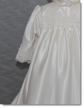 4230B  Silk Christening Gown with White beaded lace trim