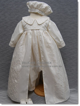 4232 - White -  Boys' Silk Christening Romper & Cape
