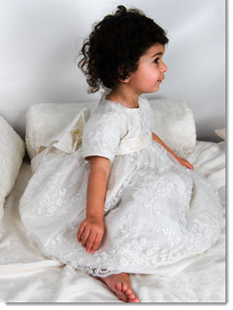 4241B  Girls lace Christening Dress - Little Angels Couture - 1