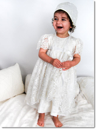 4249 Delicate Elegance Lace Girls' Christening  Dress - Little Angels Couture - 1