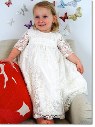 4254: Girls' Silk Christening Dress with Ivory Lace - Little Angels Couture - 5