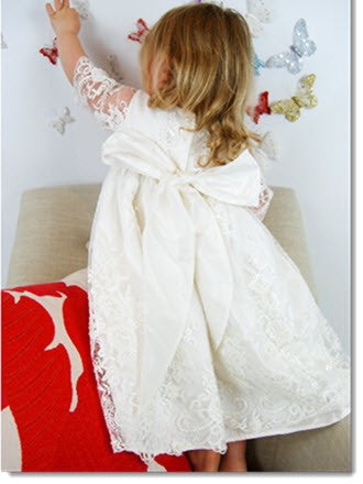 4254: Girls' Silk Christening Dress with Ivory Lace - Little Angels Couture - 6
