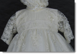 4254: Girls' Silk Christening Dress with Ivory Lace - Little Angels Couture - 2