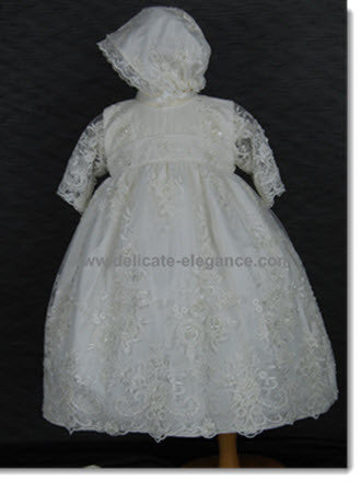 4254: Girls' Silk Christening Dress with Ivory Lace - Little Angels Couture - 1