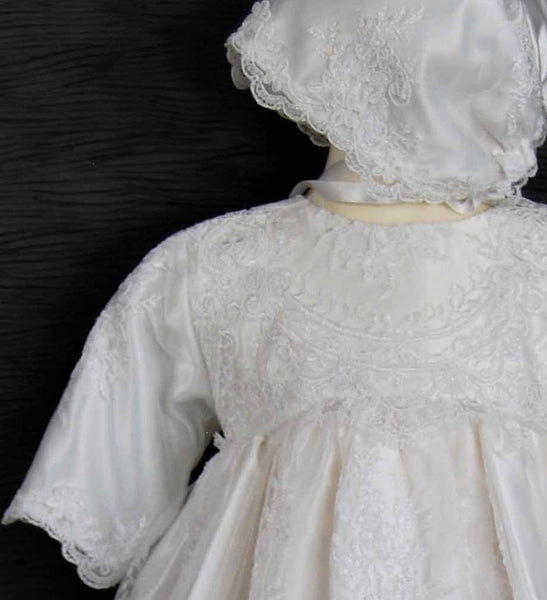 4260 (White Lace): Girls' Satin Christening Gown