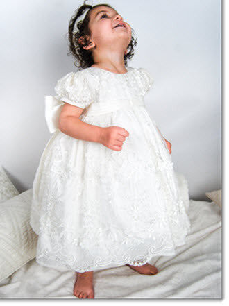 4268 (Ivory Lace): Girls' Christening Dress - Little Angels Couture - 1