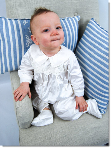 4294B  Boys Silk Christening Romper and Cape Set