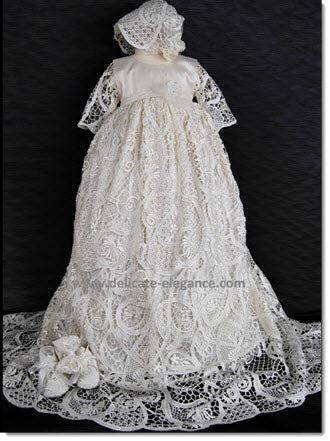 4300 (White or Ivory Lace): Girls' Silk Christening Gown