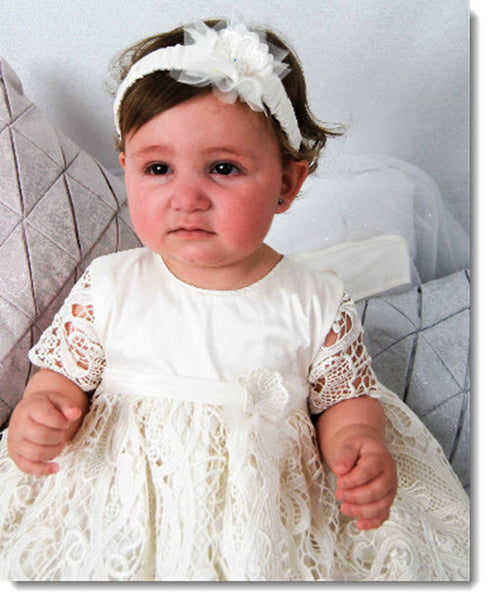 4301 (Ivory Lace): Girls' Silk Christening Dress