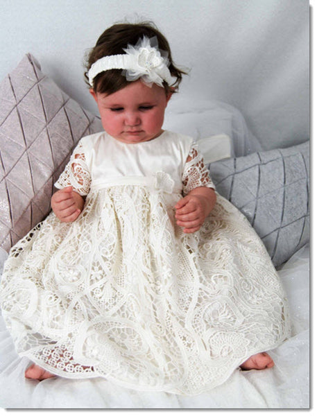 4301 (White or Ivory Lace): Girls' Silk Christening Dress