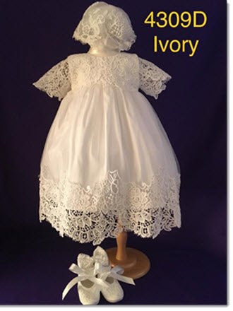 4309 D   Ivory silk and Lace Christening Dress