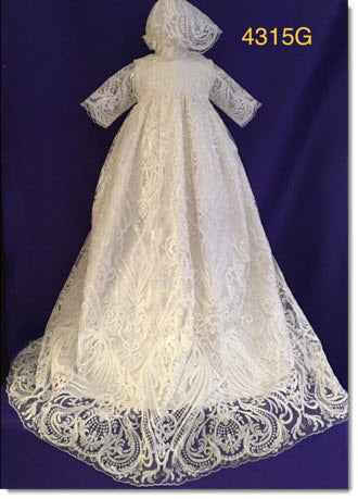 4315 G Ivory Silk and Sequined Lace Christening Gown