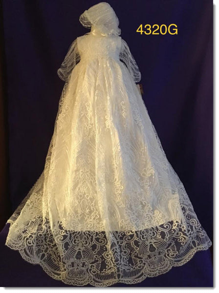 4320 G Ivory Silk and lace Christening Gown