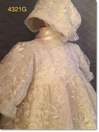4321 G   Ivory Silk and Lace Christening Gown