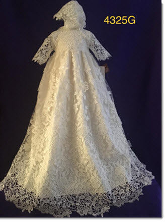 4325 G  Ivory Silk and Guipure Lace Christening Gown