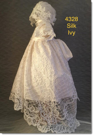 4328  Ivory Silk and Lace Christening Dress