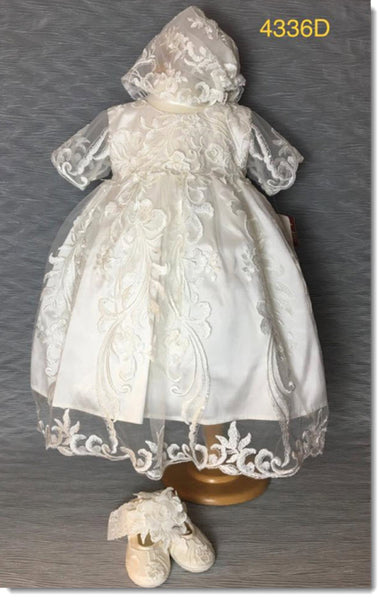 4336 D    Ivory Silk and Lace Christening Dress