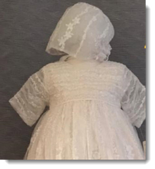 4337 G  Ivory Silk and lace Christening Gown