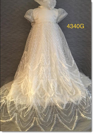 4340 G  Ivory Silk gown with  sequined lace overlay