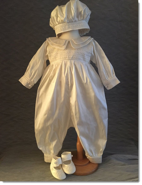 4342  Boys silk Christening Romper and Cape Set