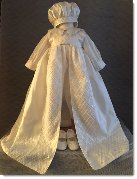 4344 Boys silk Christening Romper and Cape Set