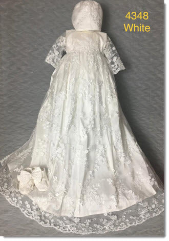 4348  White or Ivory Silk and Lace Christening Gown
