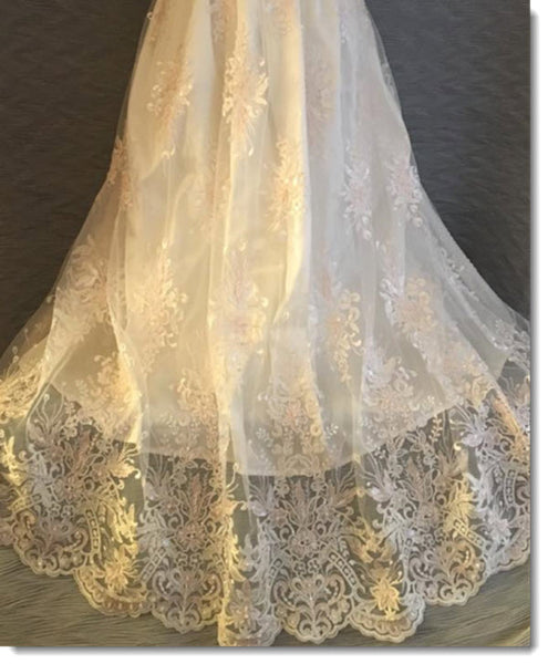 4350 G  Ivory Silk and  Pink and Ivory Lace Christening Gown