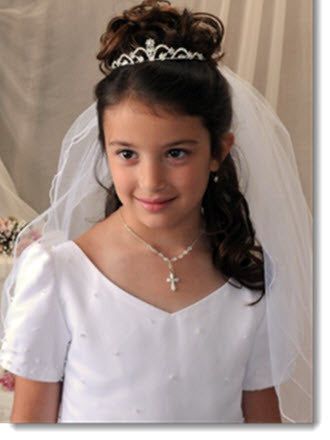 4415 - First Communion Rhinestone Tiara with Scallop Design