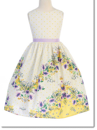 478 Chevron Floral Cotton  Flower Girl or Special Occasion Dress
