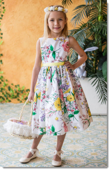 480 Botanical Flower Cotton Flower Girl or Special Occasion Dress